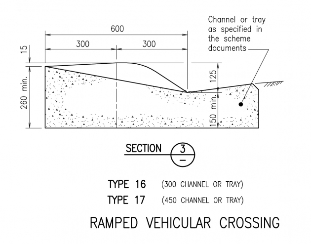 Ramped Vehicular Crossing - Section 3